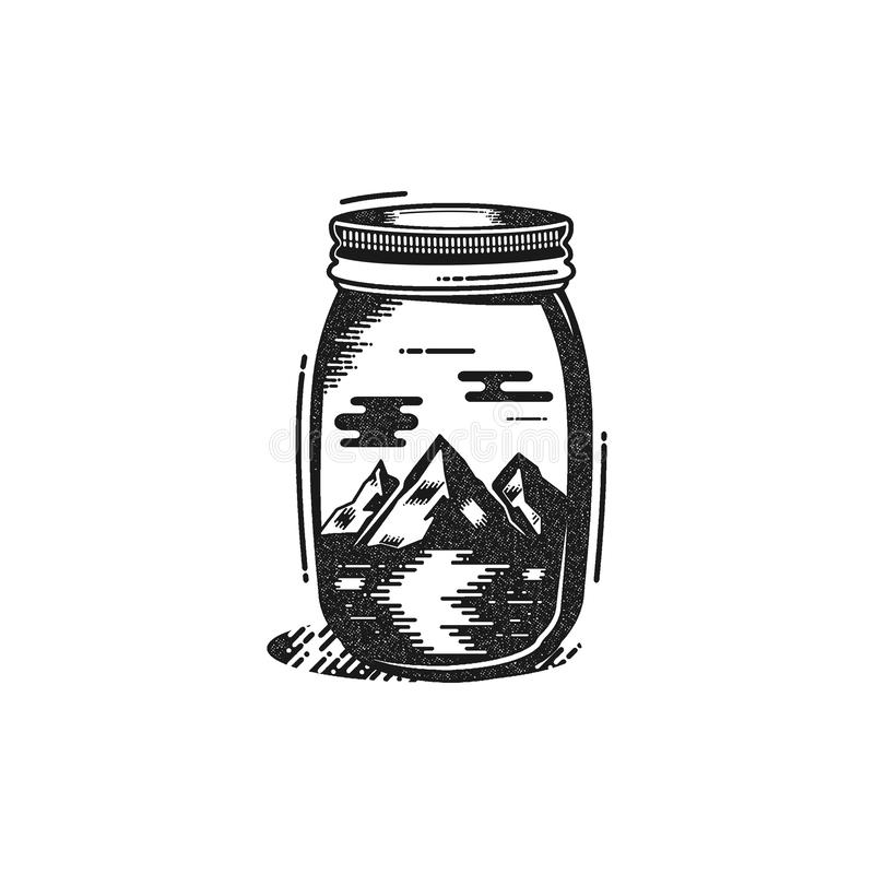 Podróży koszulki druk Rzeka w słoju projekcie i góry Przygody sylwetki druk, plakat Campingowy emblemat ilustracji