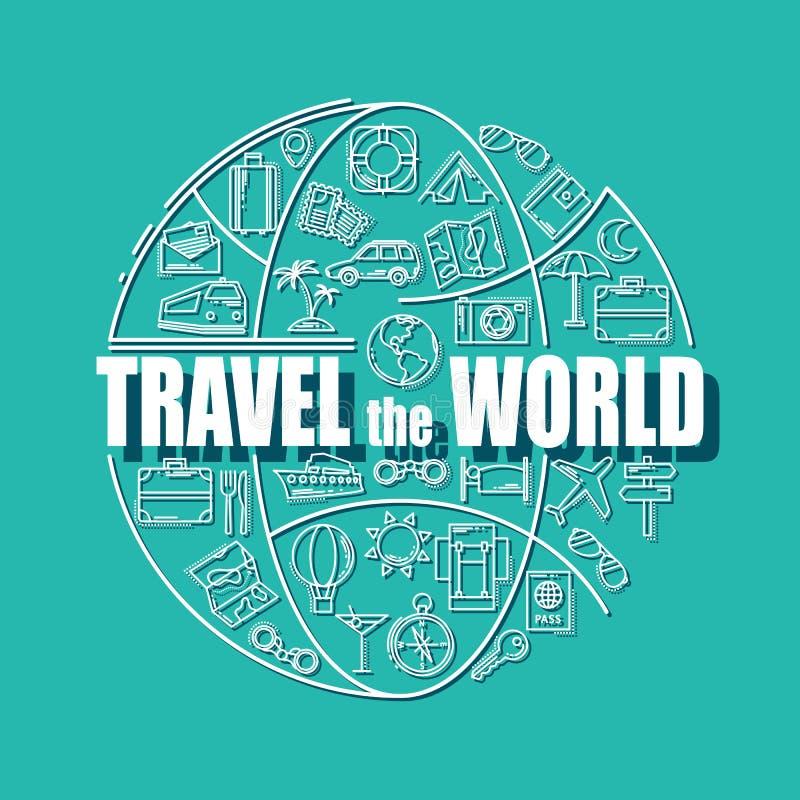 Podróży kreskowe ikony w kula ziemska kształcie Podróżuje świat - wektorowy ilustracyjny pojęcie dla karty, broszurki lub magazyn ilustracji