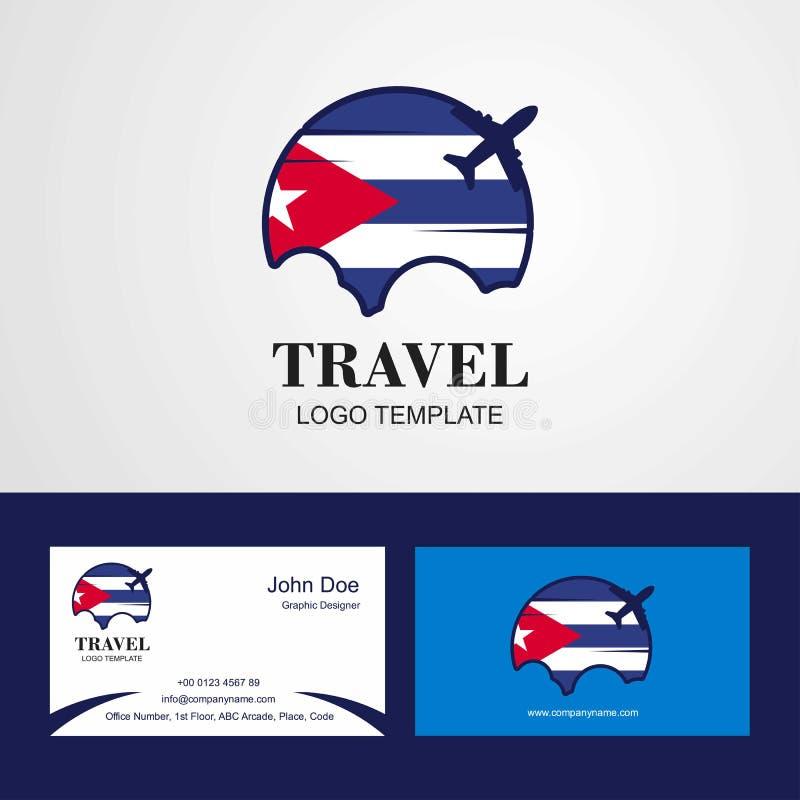 Podróży Kuba flagi logo i Odwiedzać Karcianego projekt ilustracja wektor