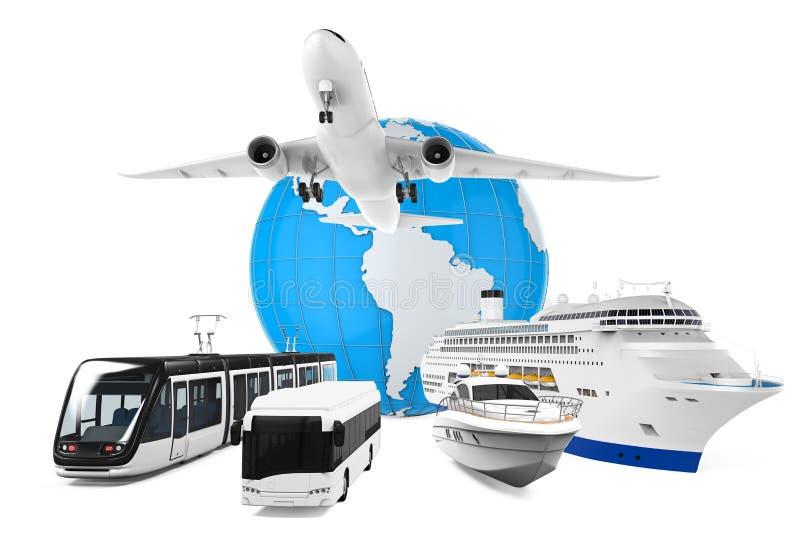 Podróży kula ziemska i transport ilustracja wektor