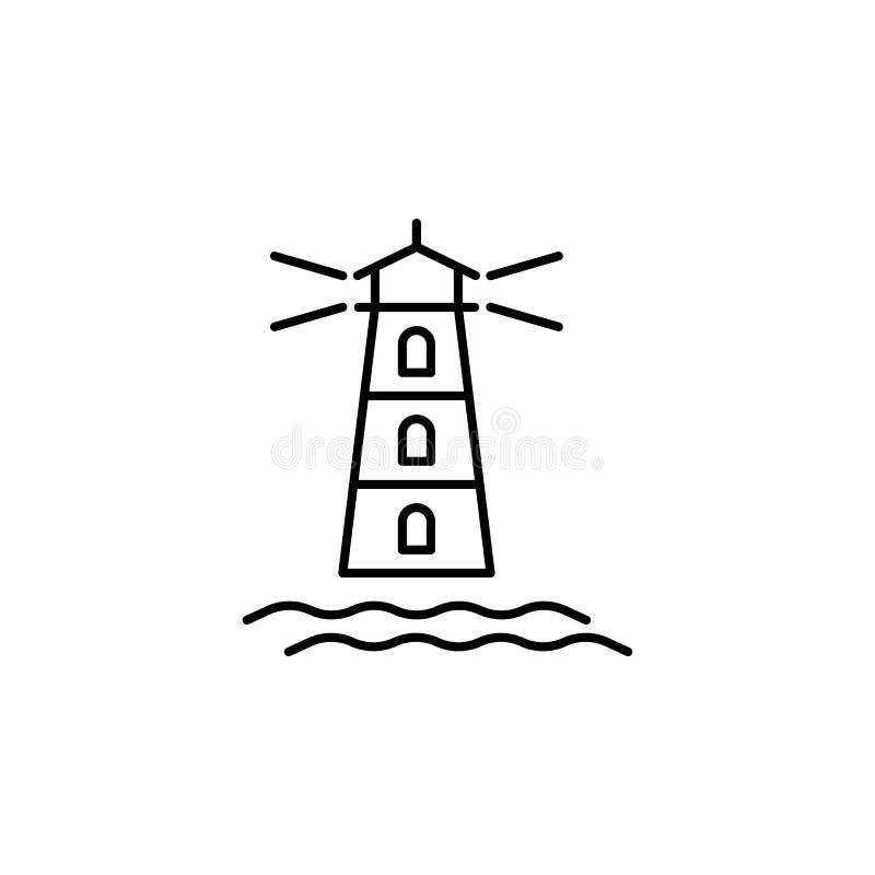 Podr??y latarni morskiej konturu ikona Elementy podr??y ilustracji ikona Znaki i symbole mog? u?ywa? dla sieci, logo, mobilny app ilustracji