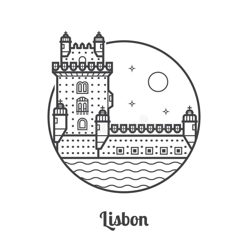 Podróży Lisbon ikona ilustracji