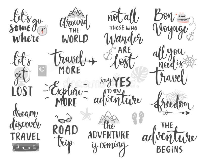 Podróży literowania projekt Ustawia - kolekcję handwritings, wycieczki, podróży i przygody tematy, royalty ilustracja