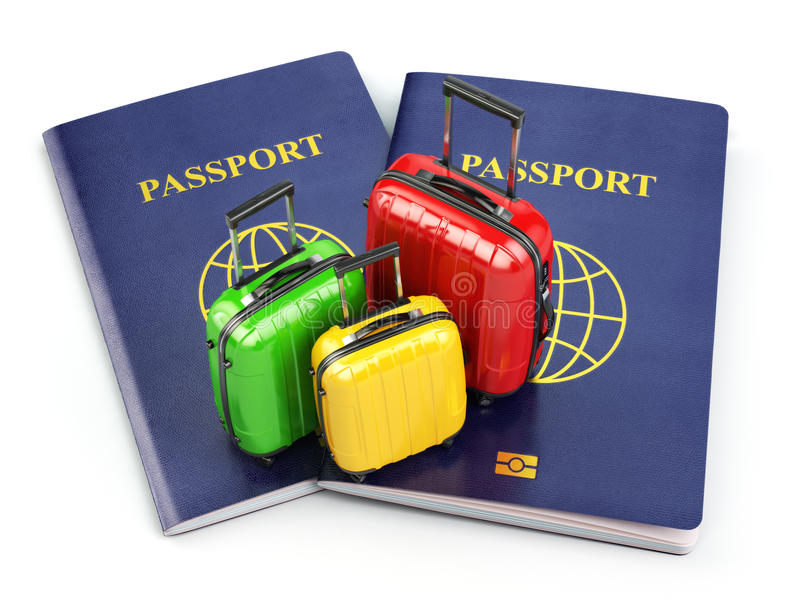 Podróży lub turystyki pojęcie Paszport i walizki na wh ilustracja wektor