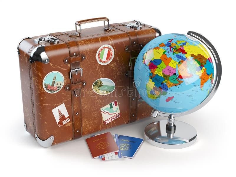 Podróży lub turystyki pojęcie Stara walizka z majcherami, kula ziemska ilustracji