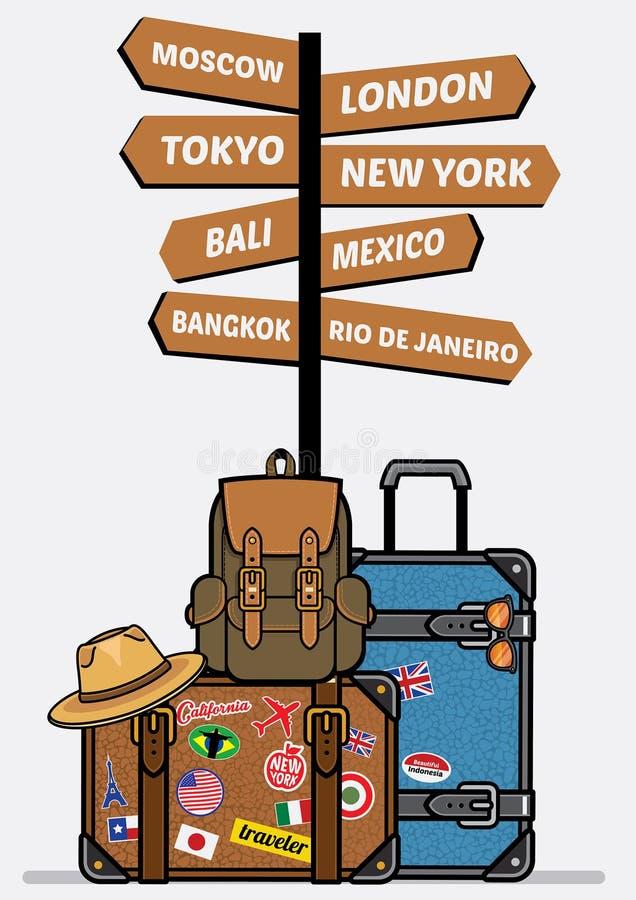 Podróży luggages z znakiem ilustracji