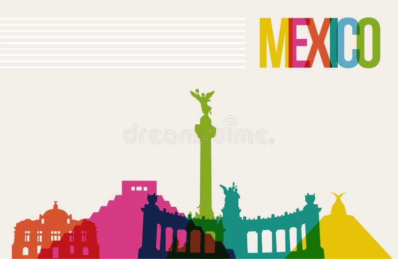 Podróży México miejsca przeznaczenia punktów zwrotnych linii horyzontu tło ilustracja wektor
