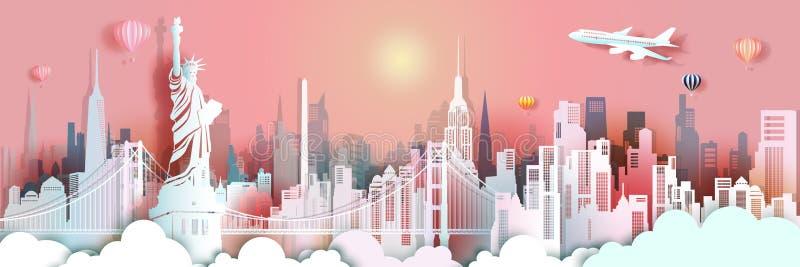 Podróży Miasto Nowy Jork swobody statuy punkt zwrotny w Manhattan ilustracji