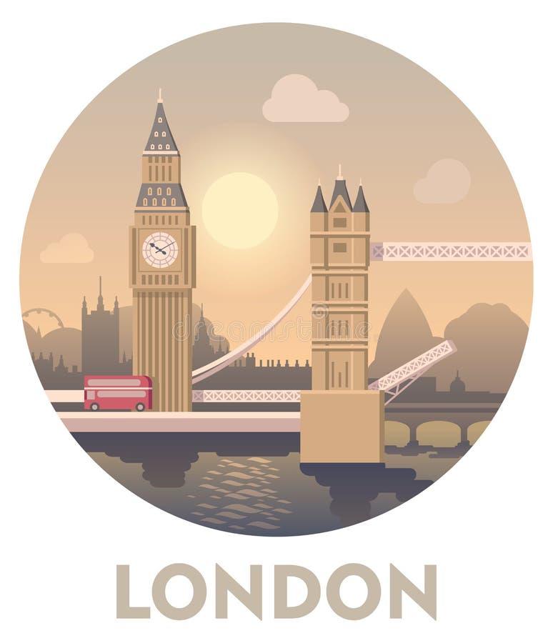 Podróży miejsce przeznaczenia Londyn ilustracji