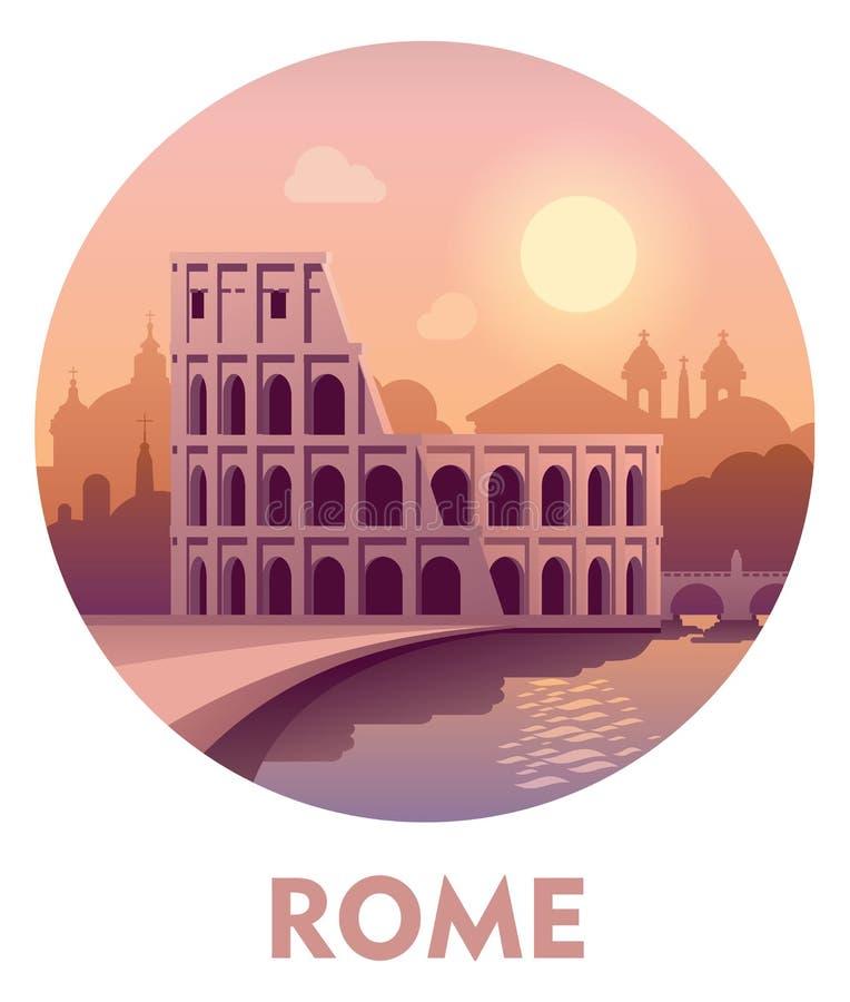 Podróży miejsce przeznaczenia Rzym ilustracji