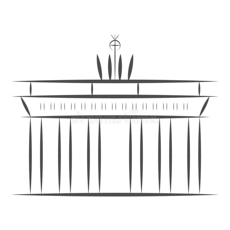 Podróży Niemcy znak Berlińskiego miasta Brandenburger sławna brama Wektorowa nakreślenie ilustracja odizolowywająca na białym tle royalty ilustracja