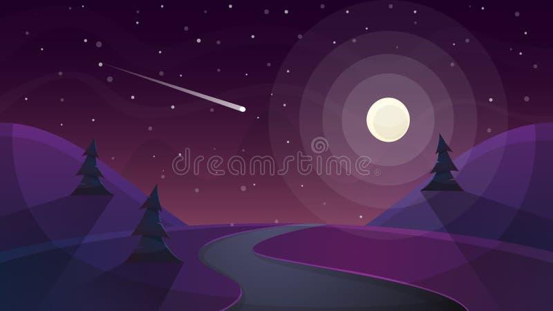Podróży nocy kreskówki krajobraz Jodła, kometa, gwiazda, księżyc, drogowa bolączka royalty ilustracja