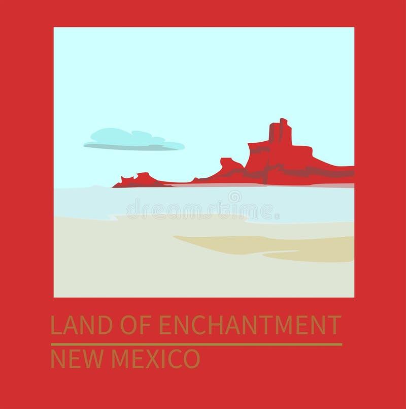 Podróży plakatowy Nowy - Mexico zabytku dolina ilustracja wektor