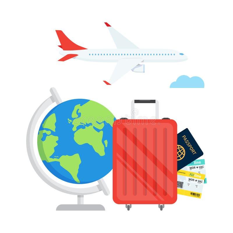 Podróży planowanie Paszport, samolotowy bilet, światowa mapa ilustracji