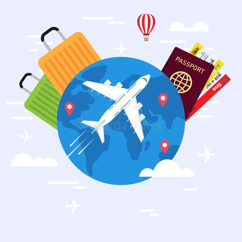 Podróży planowanie Paszport, samolotowy bilet, światowa mapa ilustracja wektor