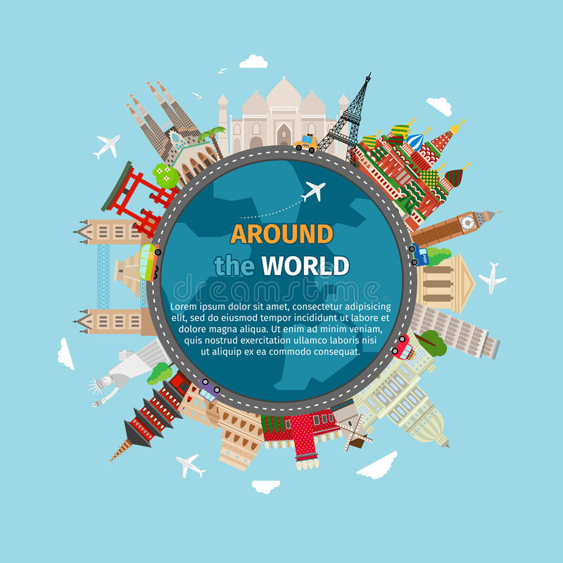 Podróży pocztówka dookoła świata ilustracja wektor