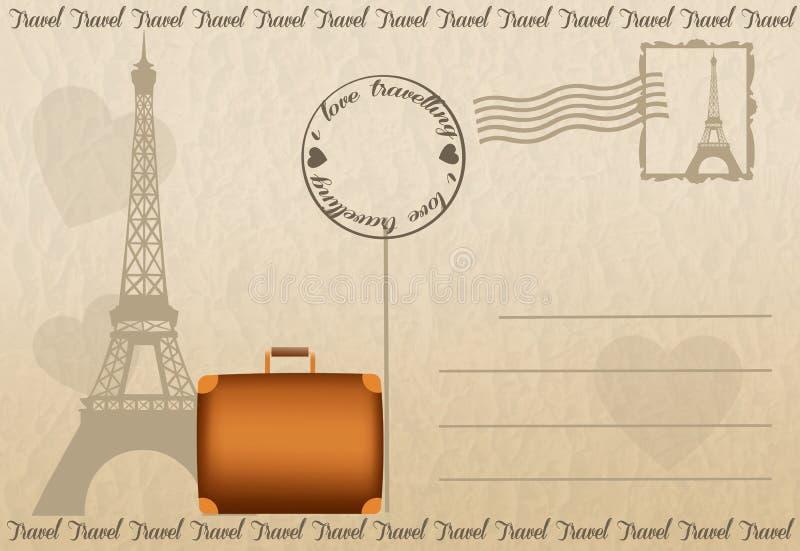Podróży pocztówka od Paryż ilustracja wektor