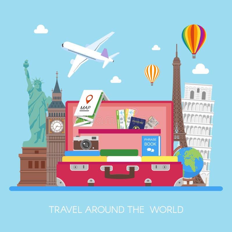 Podróży pojęcia wektorowa ilustracja w mieszkanie stylu projekcie Samolotowy latanie nad turysty bagaż ilustracja wektor