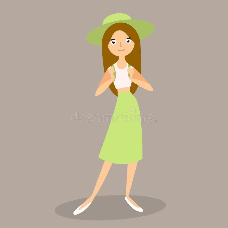 Podróży pojęcie - Zamyka w górę portreta redhair młodej pięknej atrakcyjnej dziewczyny z modny kapeluszu i sunglass ono uśmiecha  ilustracja wektor