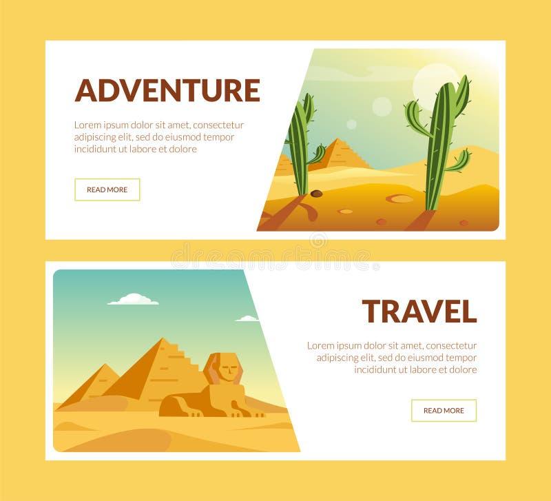 Podróży przygody Horyzontalni sztandary Ustawiający, wakacje letni wektoru ilustracja ilustracja wektor