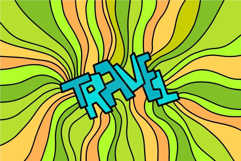 Podróży ręka rysujący literowanie z pięknymi liniami zielenieje kolor żółtego i pomarańcze ilustracji