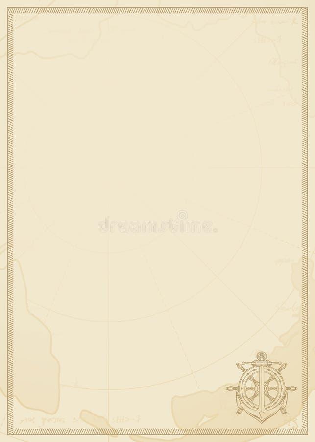 Podróży tło z kotwicą, sterem i starą mapą, royalty ilustracja