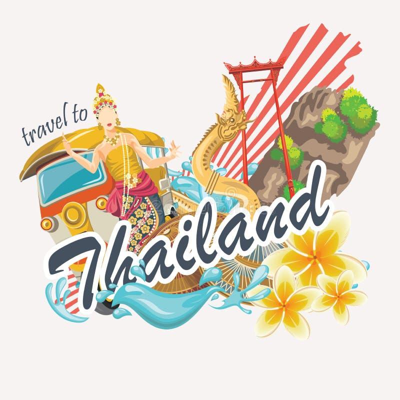 Podróży Tajlandia punkty zwrotni z ślicznymi elementami Tajlandzkie wektorowe ikony royalty ilustracja