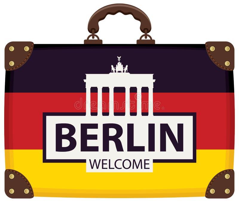 Podróży torba z niemiec flaga i Brandenburg bramą ilustracji