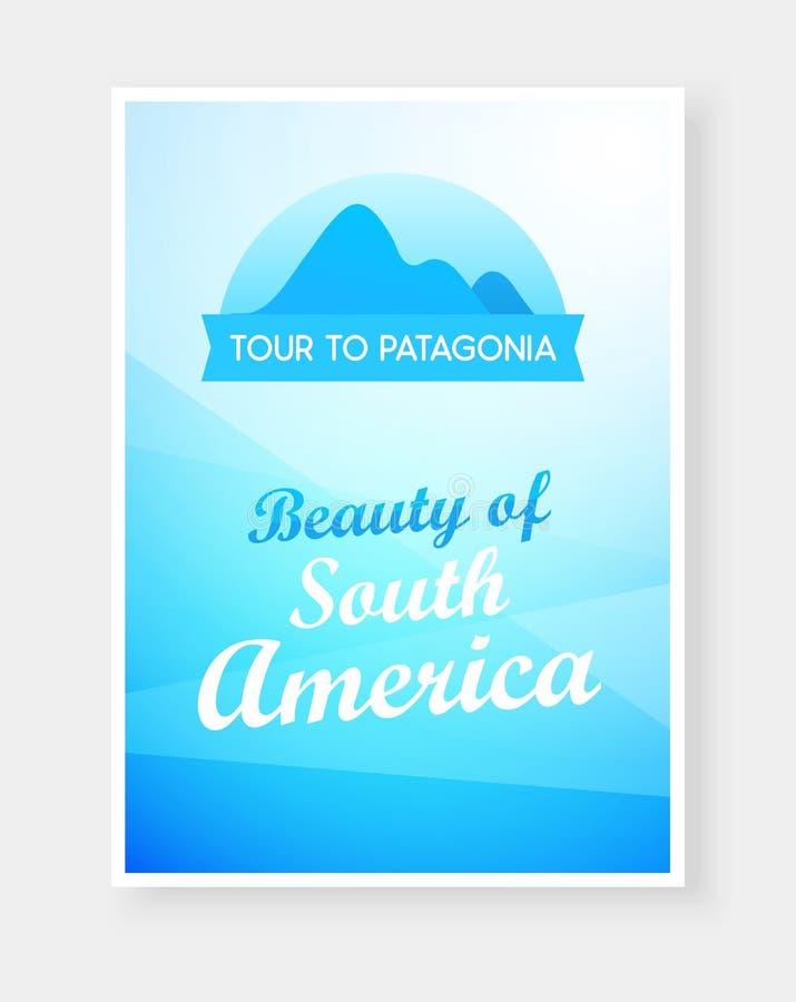Podróży ulotki projekt z emblematem Andes podpisy na pięknym tle i góry ilustracja wektor