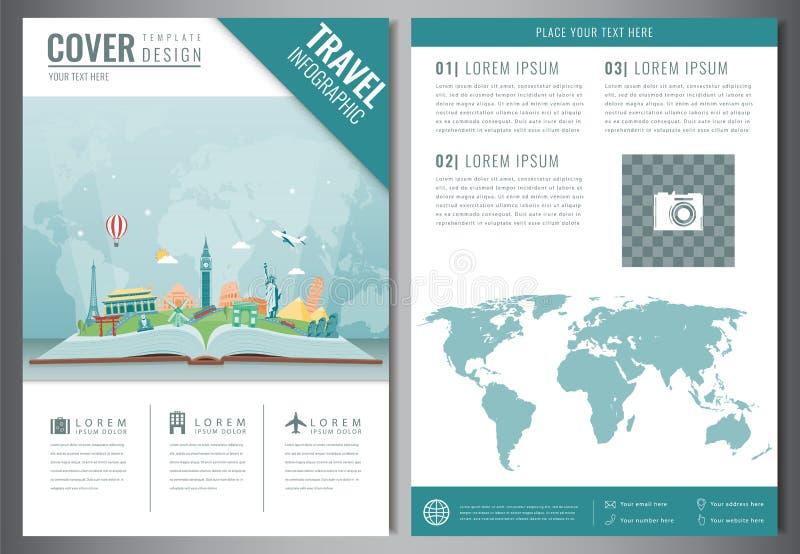 Podróży ulotki projekt z sławnymi światowymi punktami zwrotnymi Broszurka nagłówek dla podróży i turystyki wektor royalty ilustracja