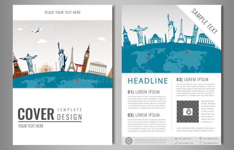 Podróży ulotki projekt z sławnymi światowymi punktami zwrotnymi Broszurka nagłówek dla podróży i turystyki wektor Nowożytny płask ilustracji