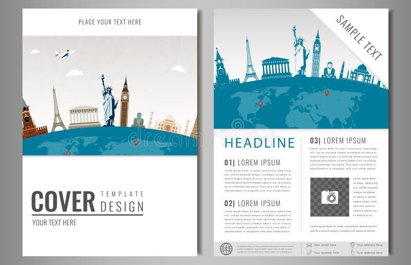 Podróży ulotki projekt z sławnymi światowymi punktami zwrotnymi Broszurka nagłówek dla podróży i turystyki wektor ilustracja wektor