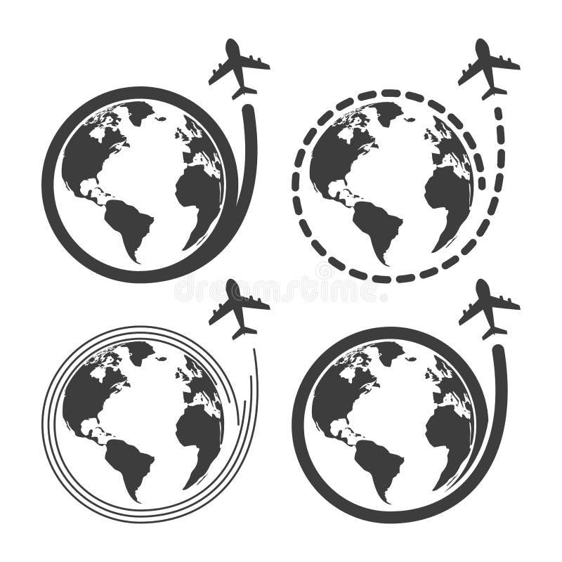 Podróży ustalone ikony z samolotową komarnicą wokoło ziemi ilustracja wektor