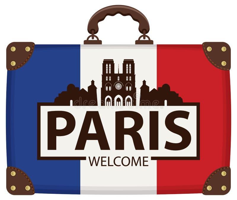 Podróży walizka z francuza Notre Damae i flaga ilustracja wektor