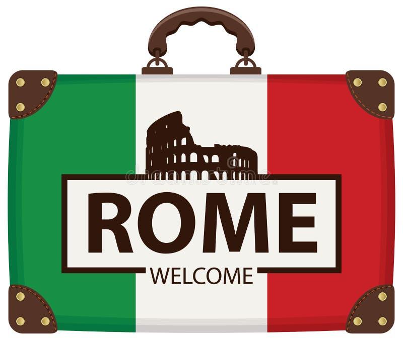 Podróży walizka z włoszczyzny Colosseum i flaga ilustracja wektor