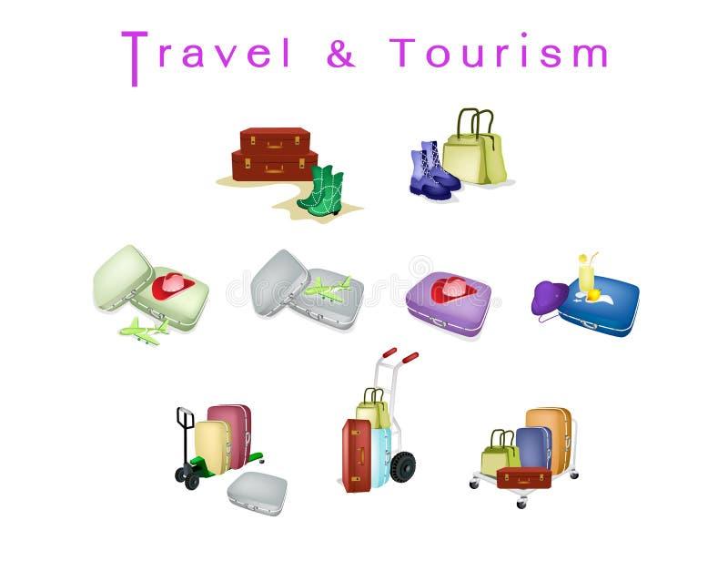 Podróży walizki z Luggages i torbą podróżnik ilustracji