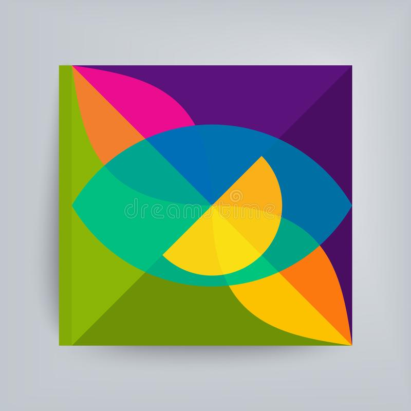 Podręcznik, broszura lub notatnik Abstrakcyjny projekt geometryczny Ilustracja wektorowa wykonana z różnych nakładających się ele ilustracji