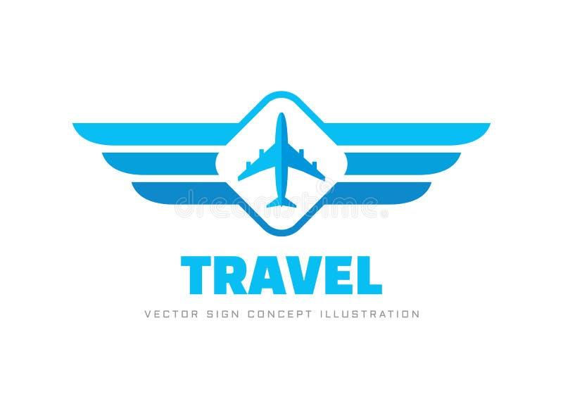 Podr?? powietrzna - poj?cie logo szablonu wektoru biznesowa ilustracja Samolotu i skrzydeł kreatywnie znak projekty graficzny ele ilustracja wektor