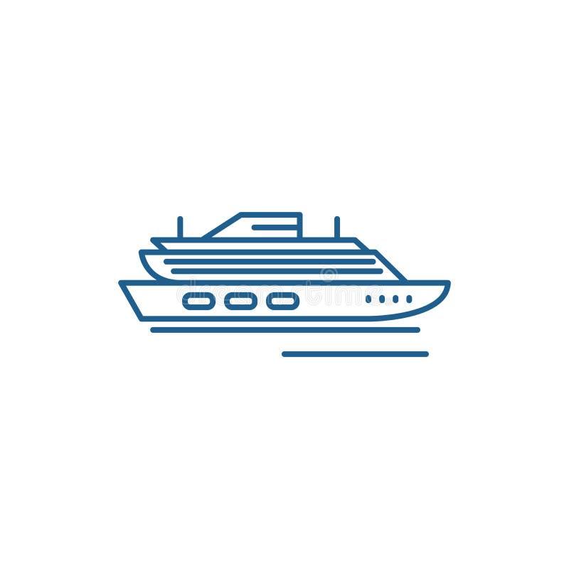 Podr?? statku wycieczkowego linii ikony poj?cie Podróżuje statku wycieczkowego płaskiego wektorowego symbol, podpisuje, zarysowyw ilustracji