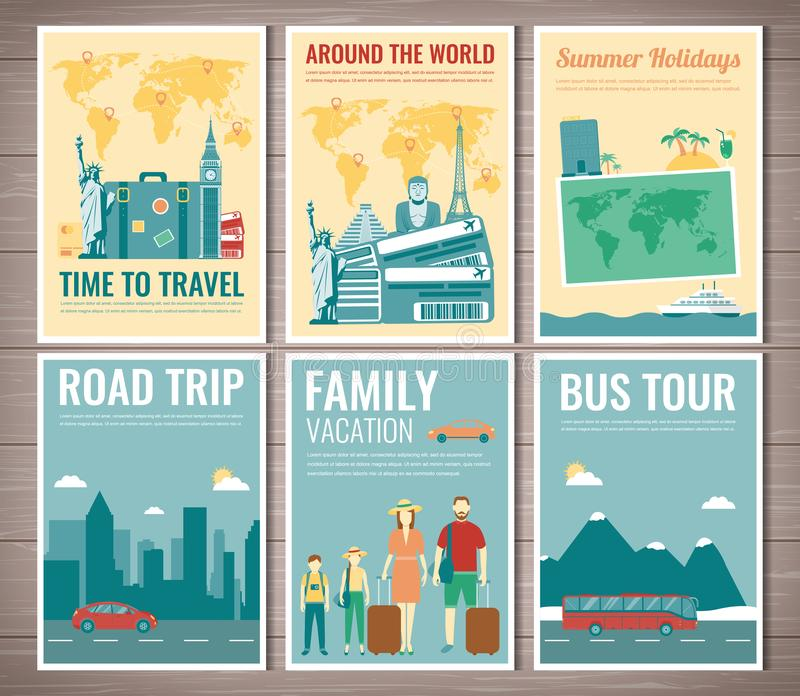 Podr??y i turystyki broszurki set Szablon magazyn, plakat, ksi??kowa pokrywa, sztandar, ulotka wektor ilustracja wektor
