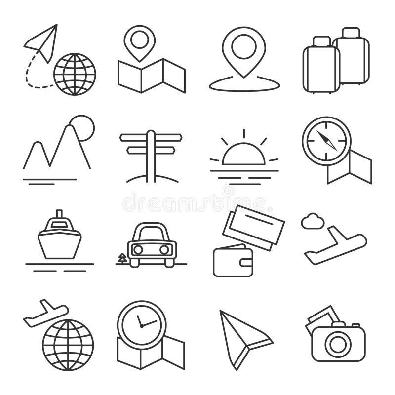 Podr??y i turystyki ikony linii Cienkiego Ustalonego piksla Perfect sztuka Materialny projekt dla sieci i App r?wnie? zwr?ci? cor ilustracji