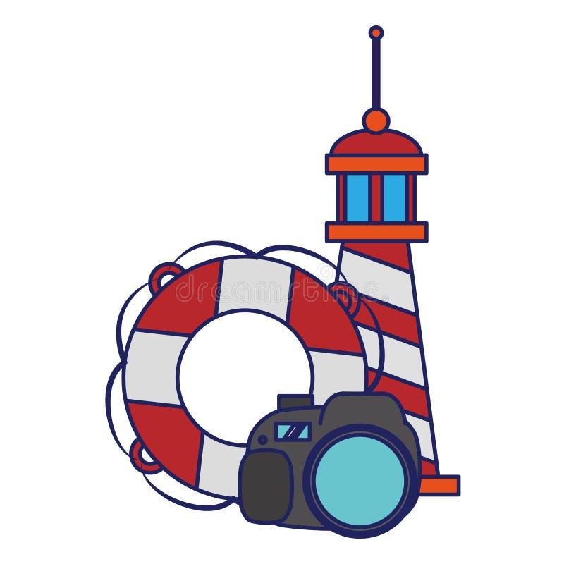 Podr??y i wakacji symboli/l?w niebieskie linie ilustracji