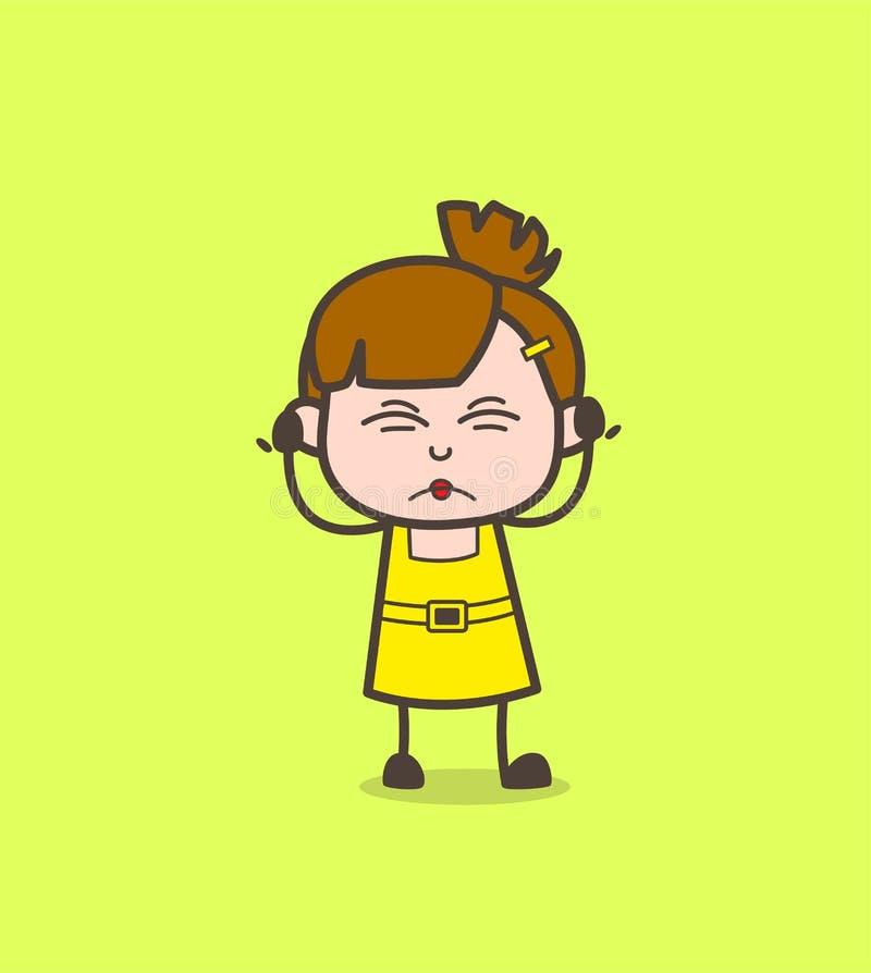 Podrażniony dzieciak twarzy wyrażenie - Śliczny kreskówki dziewczyny wektor royalty ilustracja