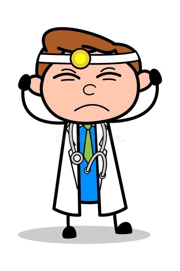 Podrażniony - Fachowa kreskówki lekarki wektoru ilustracja ilustracja wektor