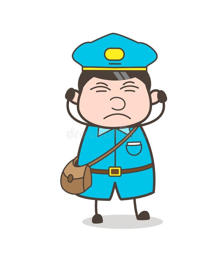 Podrażniony kreskówki Postboy charakter ilustracja wektor