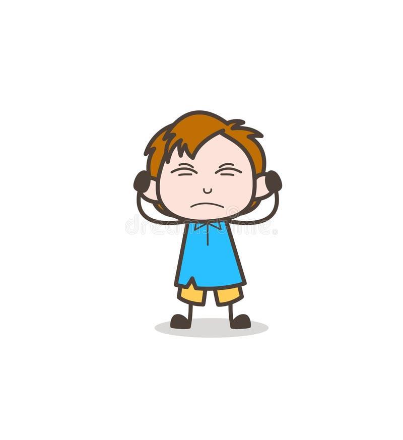 Podrażniony Little Boy wyrażenie - Śliczny kreskówka dzieciaka wektor ilustracja wektor