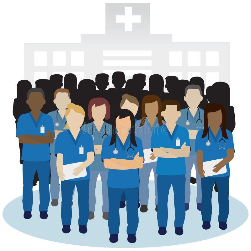 Podrażniony lub gniewny pielęgniarki grupy wektoru pojęcie ilustracja wektor