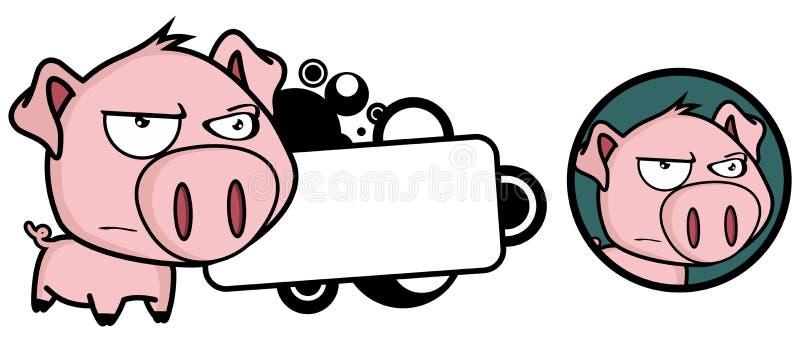 Podrażniony Mały świniowaty duży kierowniczy wyrażeniowy copyspace royalty ilustracja