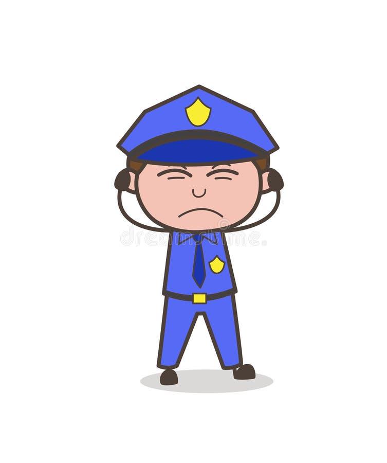 Podrażniony oficer twarzy wyrażenia wektor ilustracji
