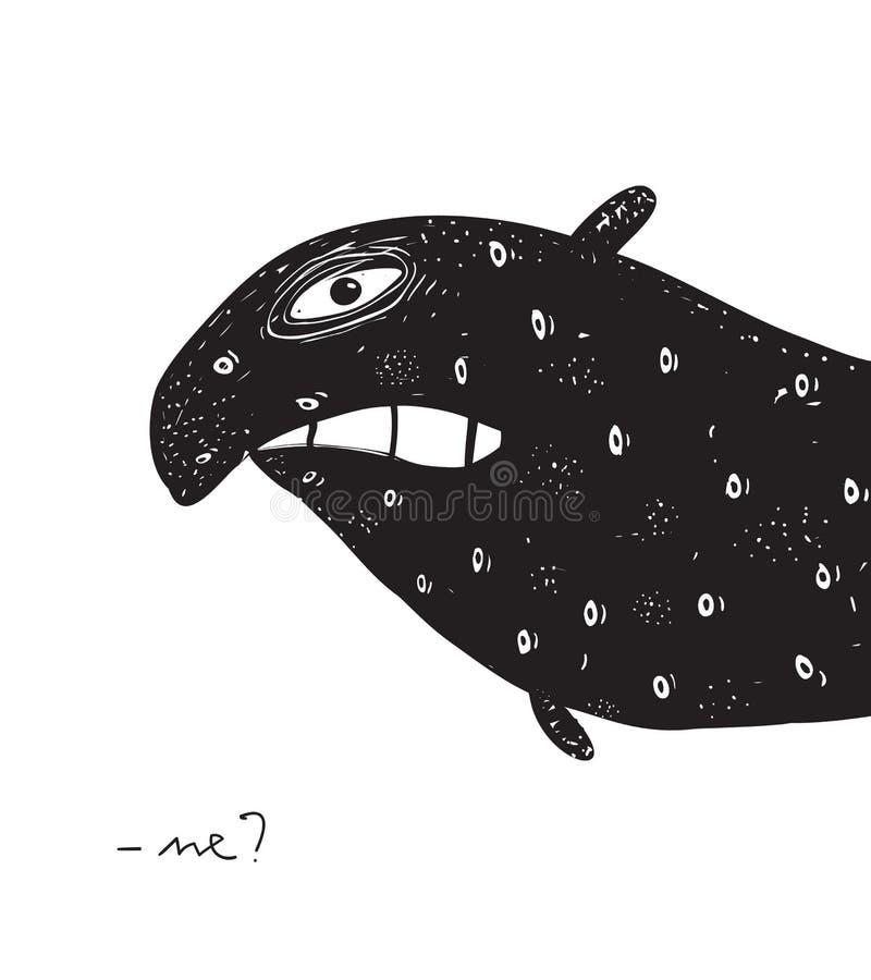 Podrażniony potwora monochrom ilustracja wektor